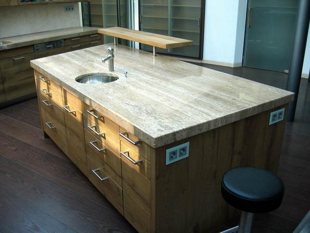 Küchenarbeitsplatte Naturstein Küche Holzoptik weiß