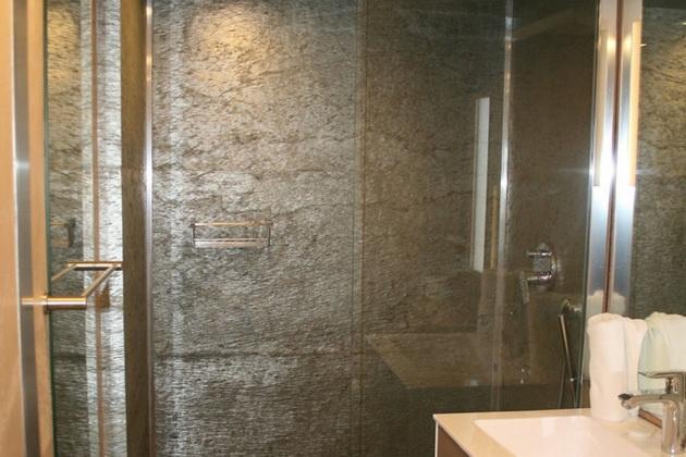 Natursteinwand Dusche Badezimmer Schiefer