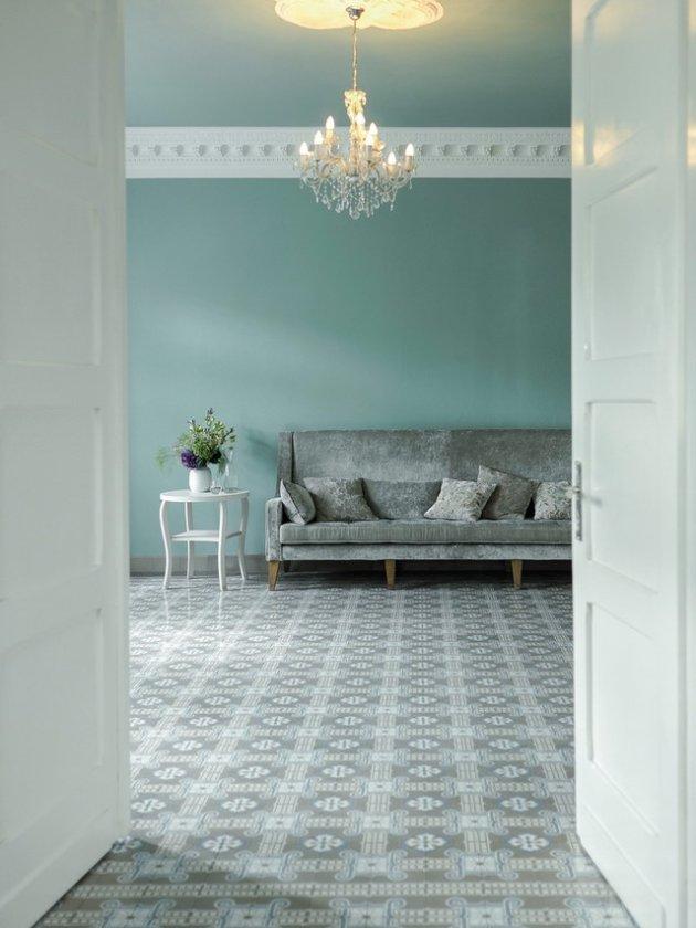 VIA zementmosaikplatten Kreidefarben Wohnzimmer