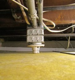 ceiling wiring above shower corroded galvanized steel drain multiple boxes to nothing [ 1024 x 768 Pixel ]