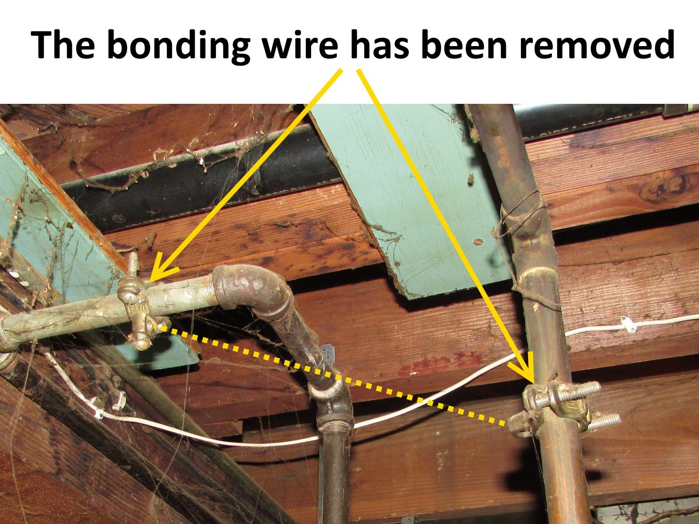 hight resolution of so you get what we had here last week i have pictured below there used to be a bonding wire connected to those clamps but someone removed it