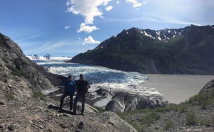 A long kayak to the trailhead, then a long hike brought us to the tip of Grewingk Glacier with spectacular views and rocks.