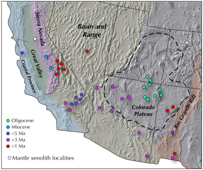 Figure 1. Mantle-xenolith-bearing volcanic centers in the western United States plotted on top of a map of main tectonic provinces.