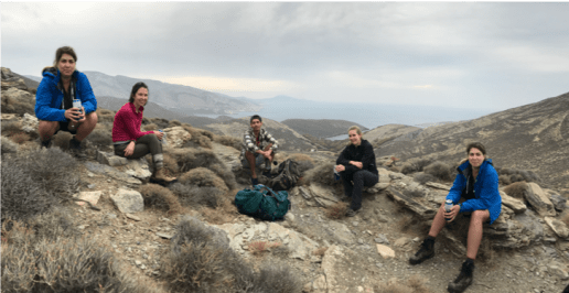 The crew on the northern part of Syros (Kampos). Whitney Behr, Jaime Barnes, Miguel Cisneros, Alissa Kotowski, and… Whitney again. There was so much to measure that we needed two of her. (PC: Grace Beaudoin)