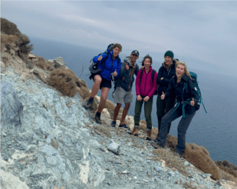 All of us on Kampos, stoked to find a beautiful little blueschist outcrop!