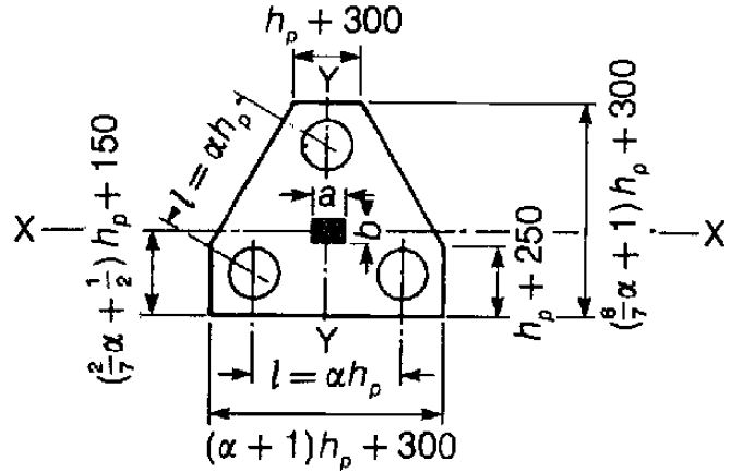Layout of column supported by three piles for equal load distribution
