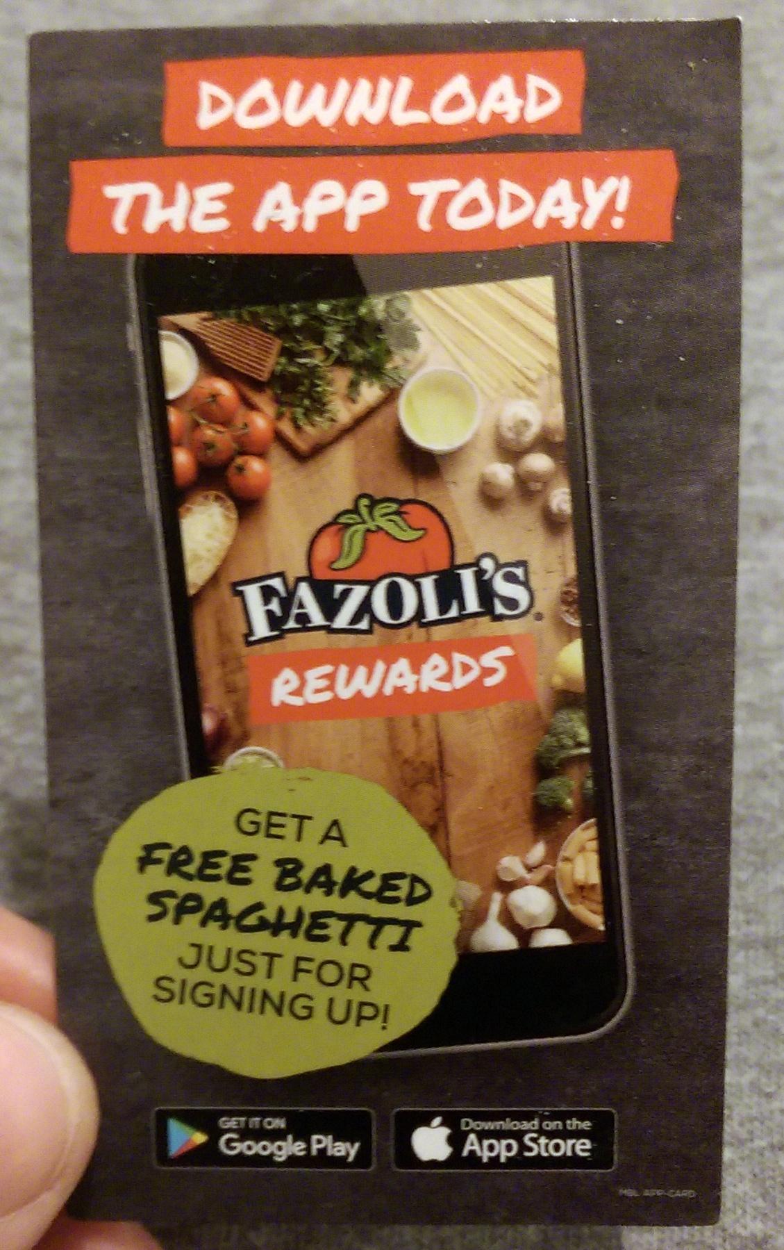 photo regarding Fazoli's Printable Menu identified as Choose A Totally free BAKED SPAGHETTI At Fazolis! Struggleville