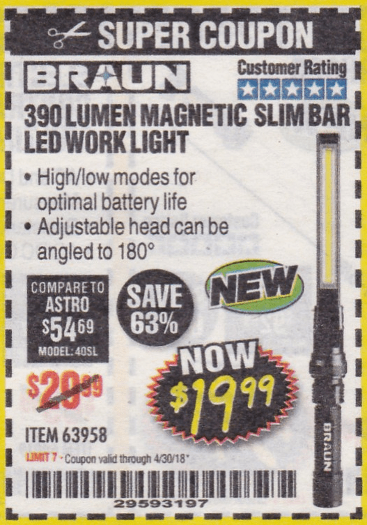 Braun 390 Lumen Magnetic Slim Bar Led Work Light Expires