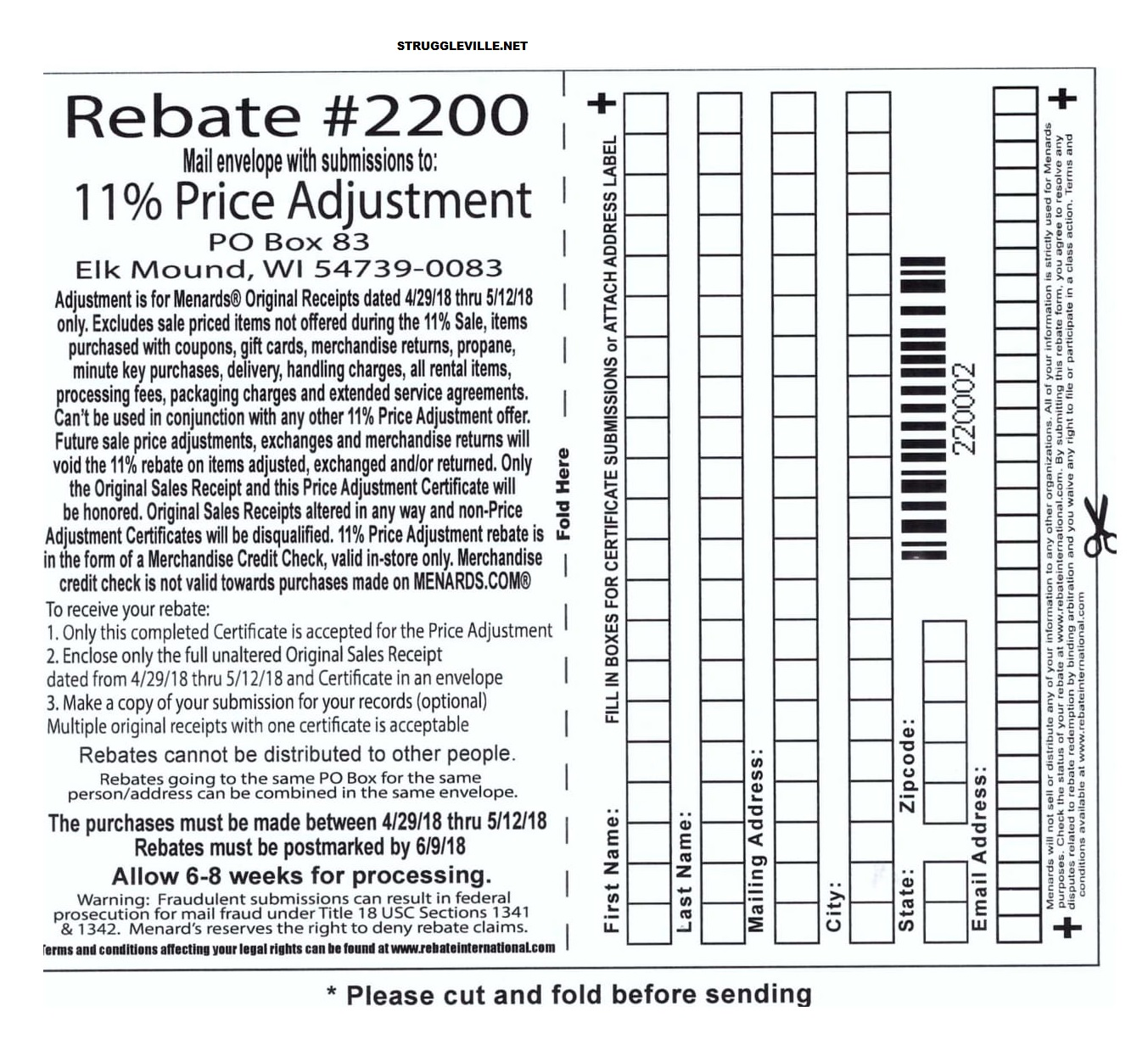 Menards 11% Price Adjustment Rebate #2200 – Purchases 4/29/18-5/12
