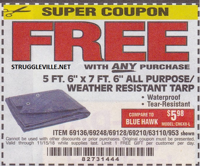 c3119a086572a5 5 Ft. 6″ x 7 Ft. 6″ All Purpose Weather Resistant Tarp – Expires 11 15 18 –  69136 69248 69128 69210 63110 953