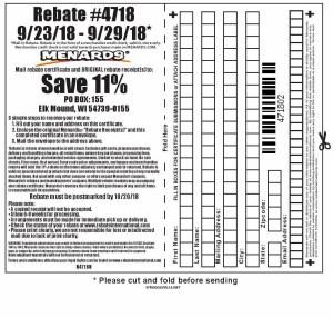 Menards 11% Rebate #4718 – Purchases 9/23/18 – 9/29/18