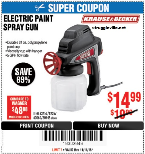 Electric Paint Spray Gun Expires 11 11 18 63452 62267