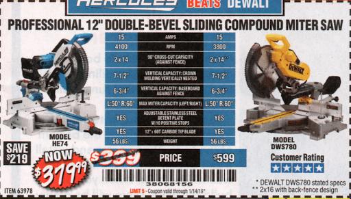Hercules 12″ Double-Bevel Sliding Compound Miter Saw – Expires 1/14