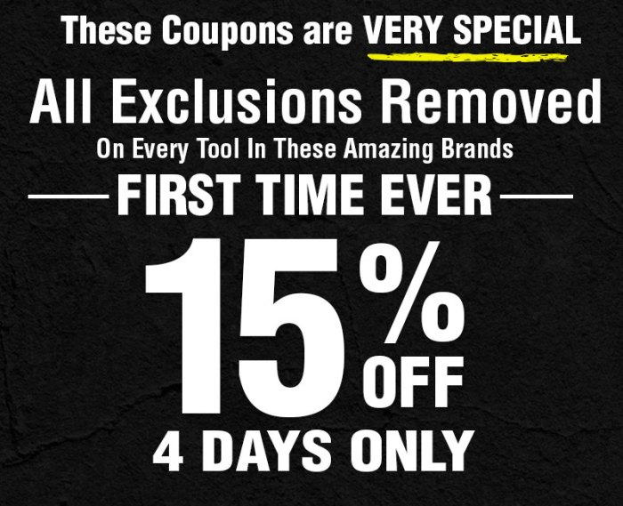 Harbor Freight All Exclusions Removed First Time Ever Expires 11 21 18
