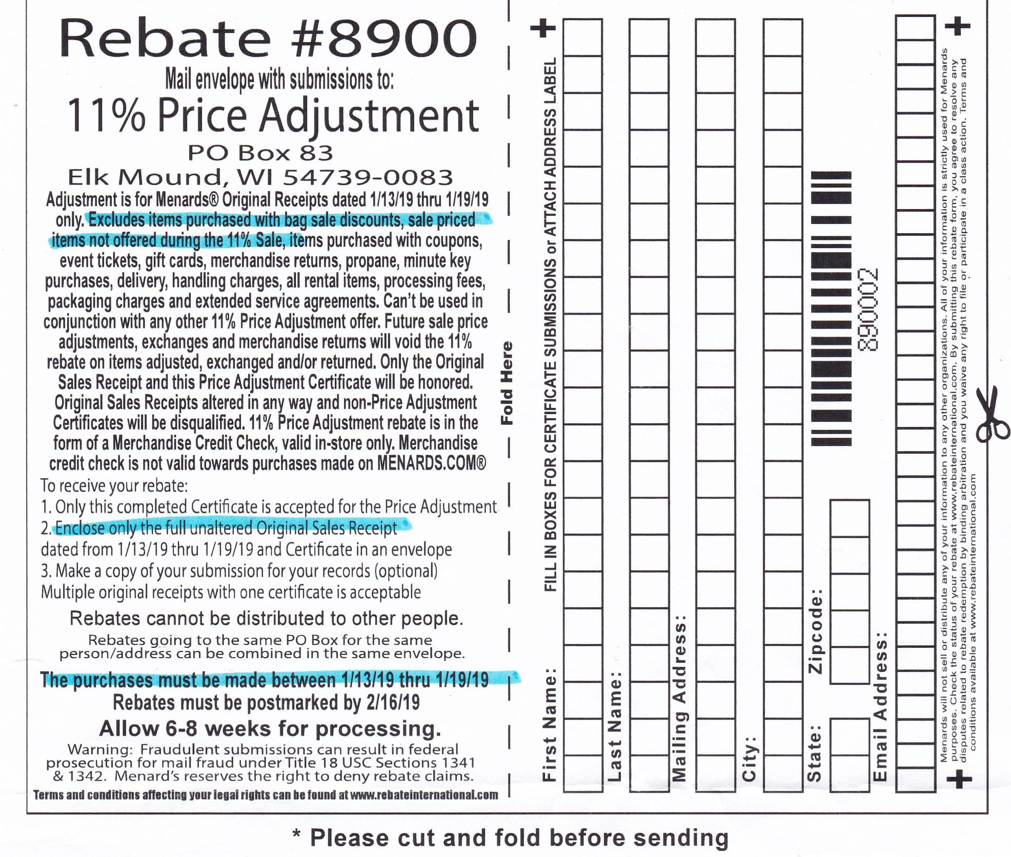 Menards Rebate May 2020