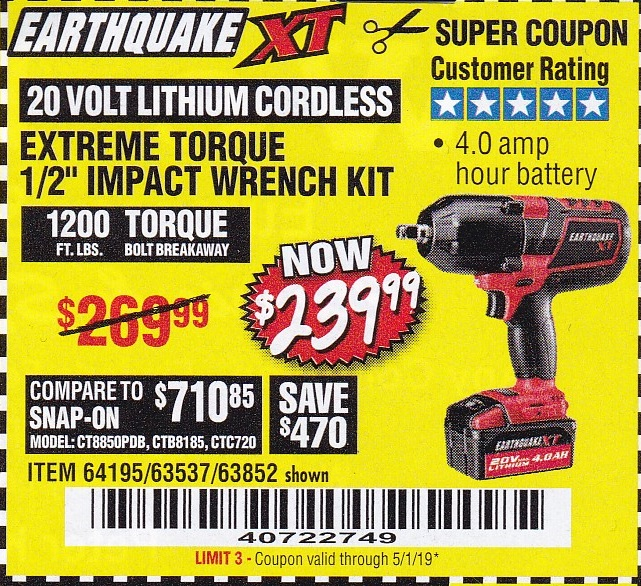 EARTHQUAKE XT 1/2″ IMPACT WRENCH KIT – EXPIRES 5/1/19