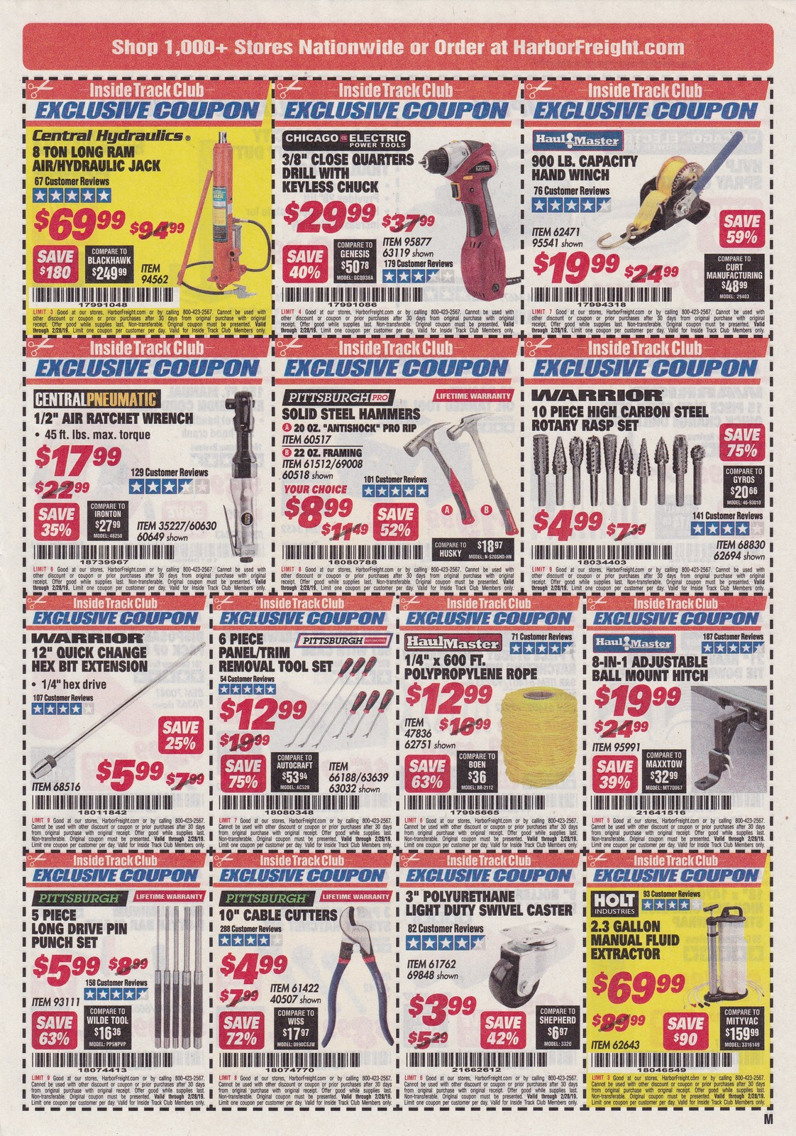 Harbor Freight Inside Track Club Coupons February 2019
