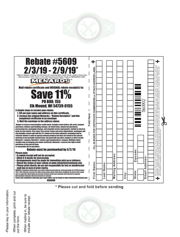 Menards 11% Rebate #5609 – Purchases 2/3/19 – 2/9/19 ...