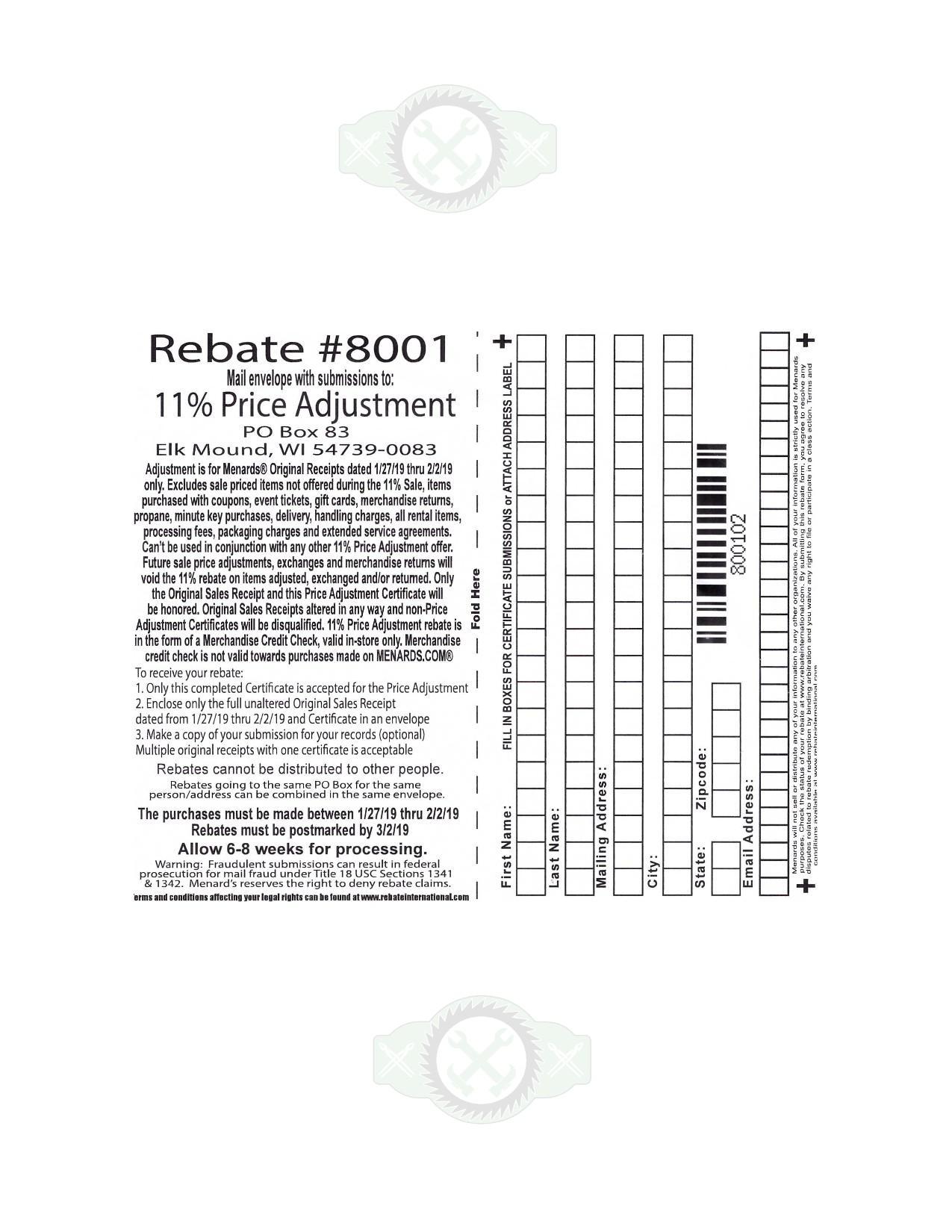 image regarding Menards Printable Coupons named Menards 11% Cost Adjustment Rebate #8001 Buys 1/27