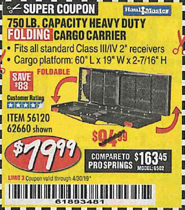 750 LB CAPACITY HEAVY DUTY CARGO CARRIER – EXPIRES 4/30/19