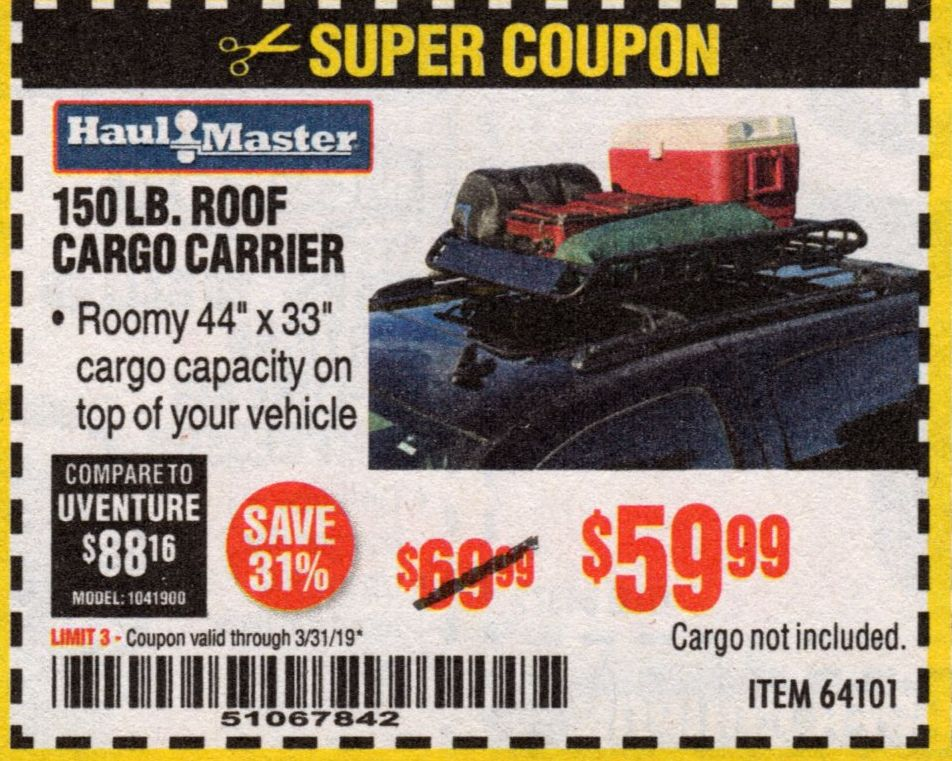 150 LB ROOF CARGO CARRIER – EXPIRES 3/31/19 – 64101 – $59 99