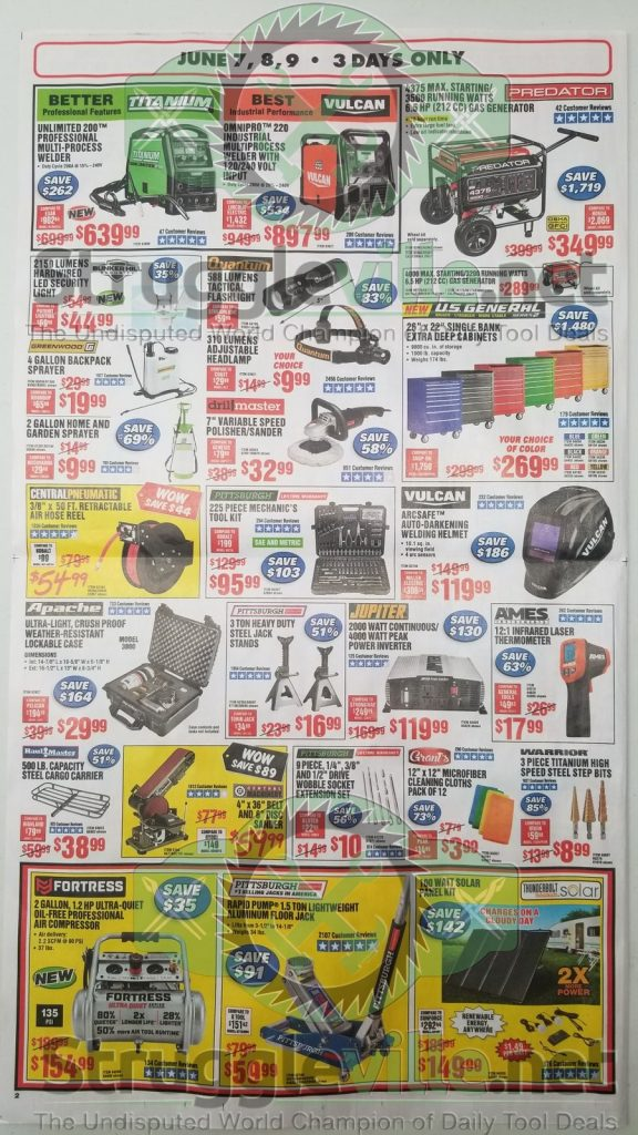 Harbor Freight June parking lot sale ad page 2