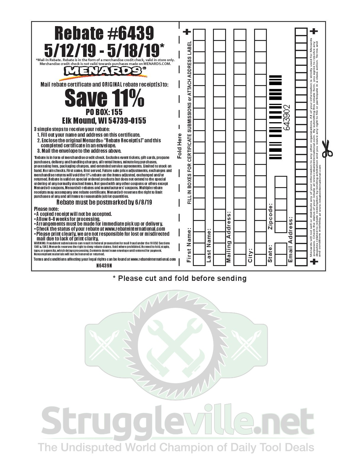 graphic relating to Menard Printable Coupons referred to as Menards 11% Rebate #6439 Buys 5/12/19 5/18/19