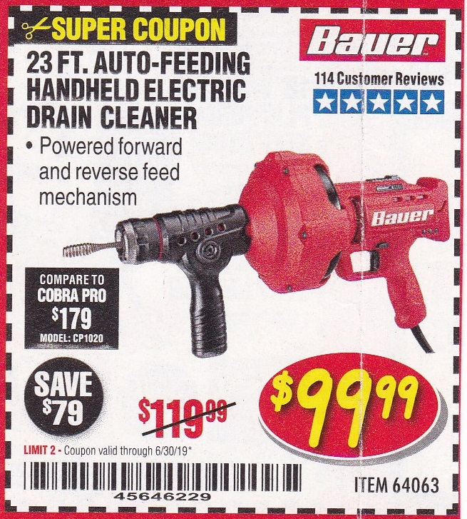 Bauer 23 ft Auto-Feed Handheld Electric Drain Cleaner Powered forward reverse