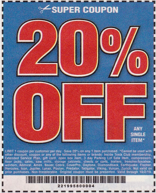 It's just an image of Striking Printable Harbor Freight 20 Off Coupon