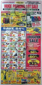 Harbor Freight August parking lot sale ad page 1