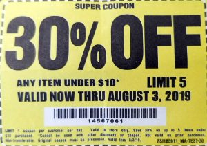 Harbor Freight 30 percent off any item under 10 dollars limit 5