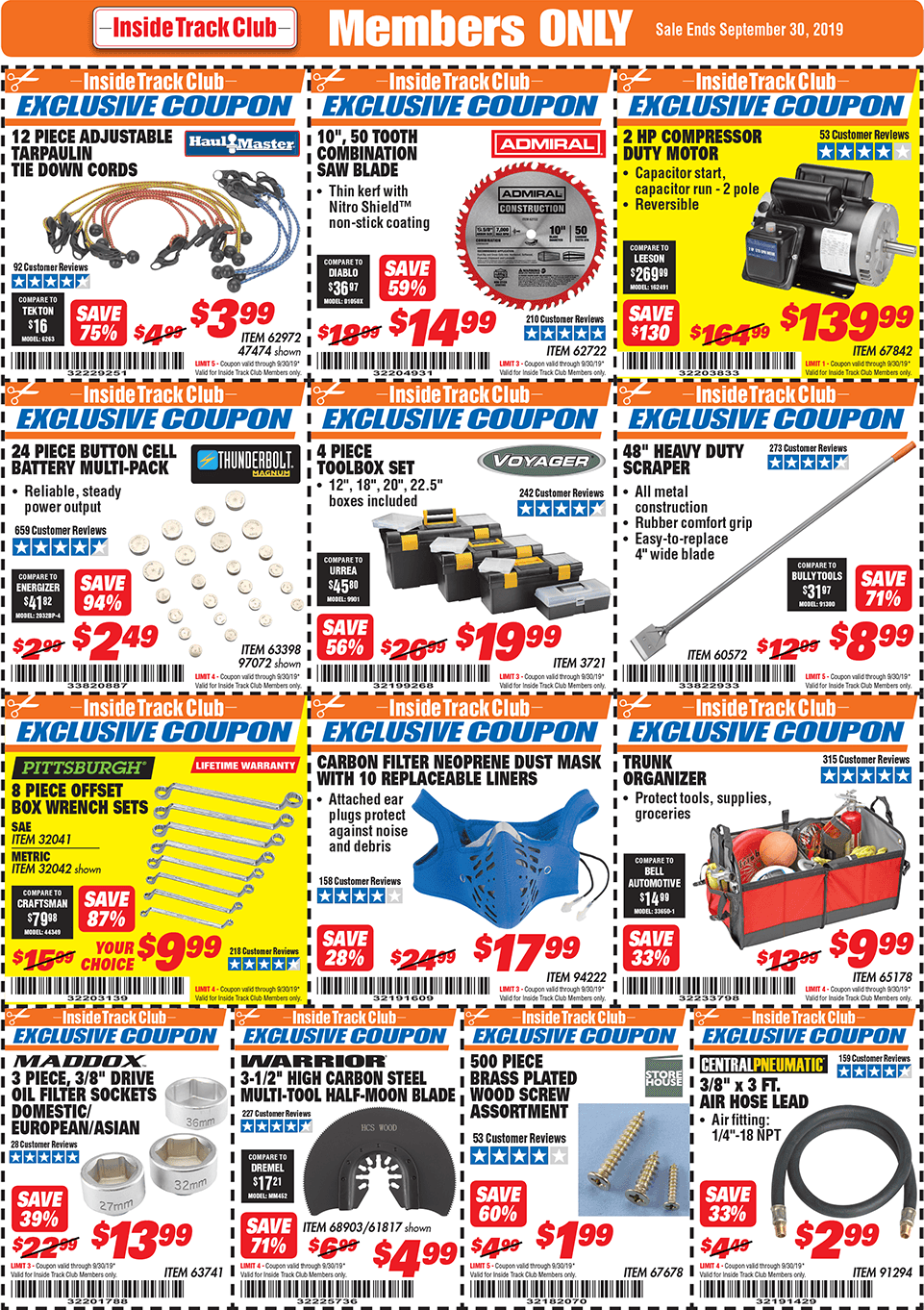 Harbor Freight Inside Track Club Coupons September 2019