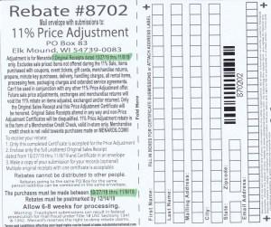 Menards 11 Percent Price Adjustment Rebate Number 8702