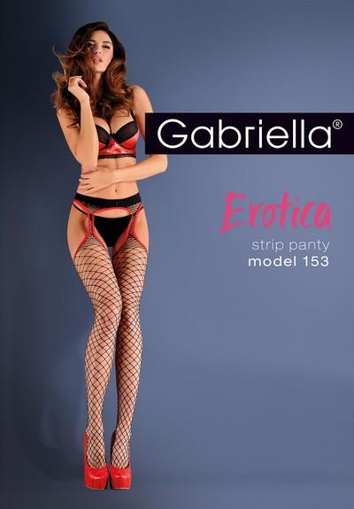 Grobmaschige Netz-Strapsstrumpfhose Strip Panty von Gabriella, schwarz, Gr. XS/S