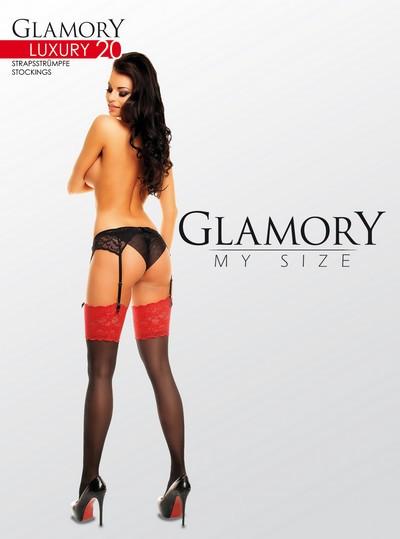 Glänzende Strapsstrümpfe in Übergrößen mit Spitzenabschluss Luxury 20 von Glamory, schwarz-rot, Gr. L