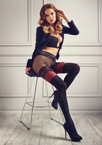 Strumpfhose in raffinierter Strumpf-Optik und Taillenbund aus Spitze aus der Kollektion Patrizia Gucci for Marilyn