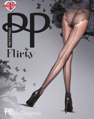 Feinstrumpfhose mit Rücknaht und Bikini-Höschenteil PPretty...Delightful von Pretty Polly, hautfarben mit schwarzer Naht