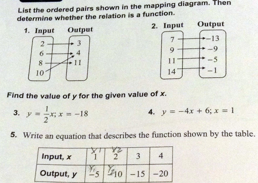 List The Ordered Pairs Shown In The Mapping Diagram Then