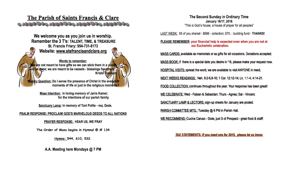 New Parish Bulletin – Parish of Sts  Francis and Clare