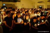 Up close view of the congregation with their candles.