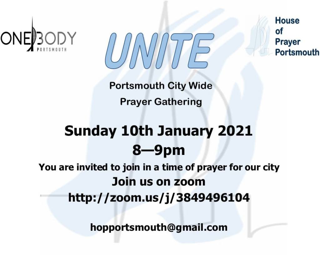 City Wide Prayer: Sunday 10th Jan 2021 – 8pm to 9pm ONLINE