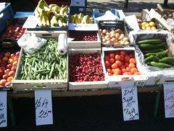 Fresh farm produce from the farmers market in Aarhus, Denmark.