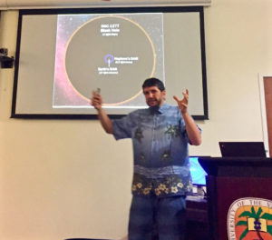 Alberto Sesana of the University of Birmingham in the United Kingdom lectures on gravitational waves at UVI on St. Thomas as a part of an international astronomy conference.