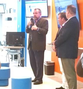 Viya executive Alvaro Pilar addresses the company's first 'Tech Talk.' (Marina Ricci photo)