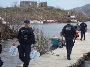 Crew from Coast Guard Cutter Joseph Napier offloads supplies in St. John. (U.S. Coast Guard photo)