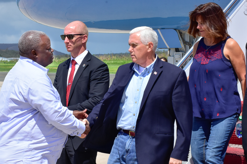 Gov Kenneth Mapp greets Vice President Mike Pence when he arrives on St. Croix. (Government House photo)