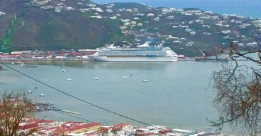 Royal Caribbean's Adventure of the Seas  ties up at Charlotte Amalie, where it took on about 560 passengers, part of a contingent of 1,400 evacuated Oct. 1, 2017, from the territory. (SAP photo)