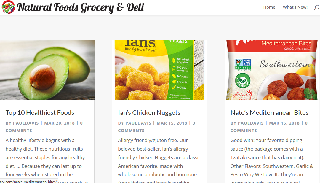 "St Thomas Web Design is Proud to Present ""Natural Food Grocery"""