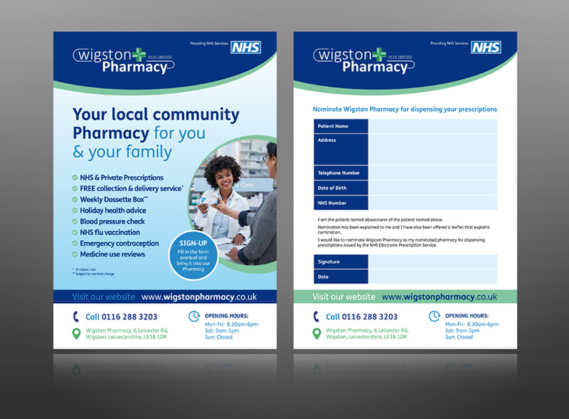 Wigston Pharmacy Patient EPS (Electronic Prescription Service) Form for customers to nominate their pharmacy to receive prescriptions. The EPS form is a typical PSNC Template - but it has been branded up to match the Wigston Pharmacy identity.