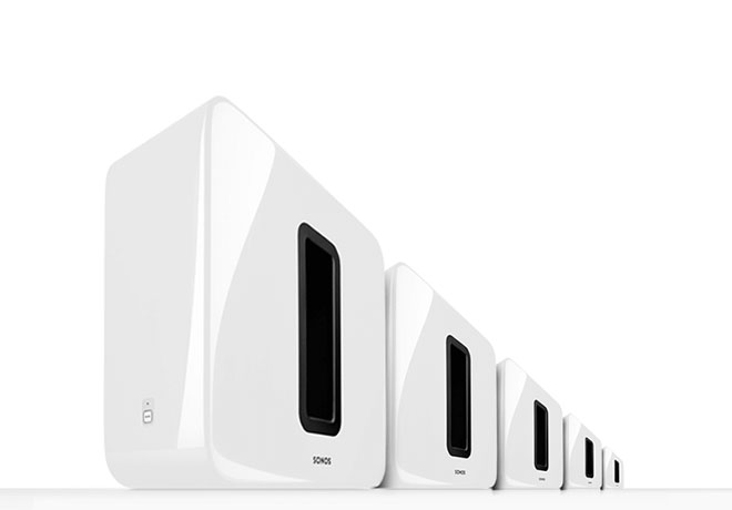 Sonos SUB lined up